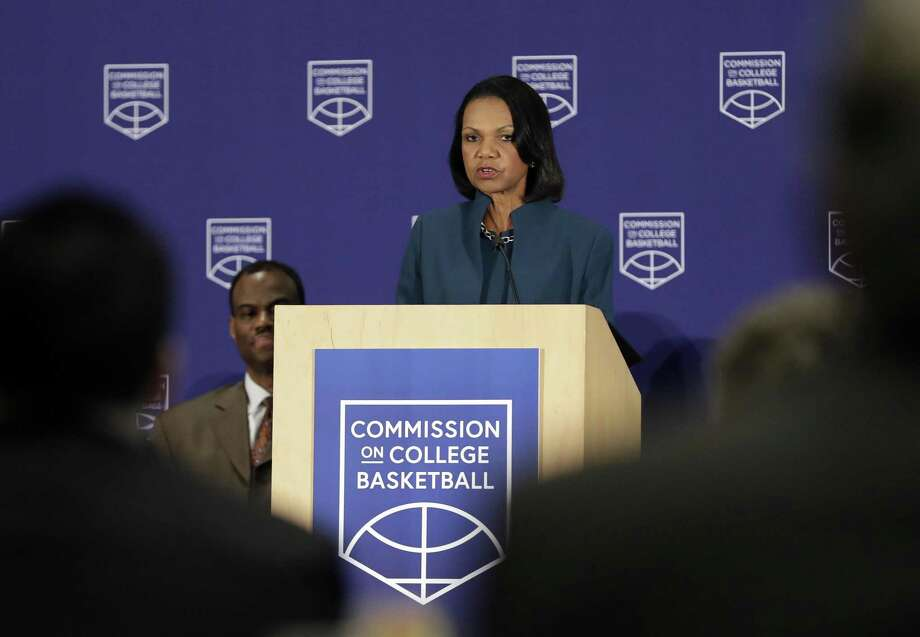 Former U.S. Secretary of State Condoleezza Rice speaks during a news conference at the NCAA headquarters, Wednesday, April 25, 2018, in Indianapolis. The Commission on College Basketball led by Rice, released a detailed 60-page report Wednesday, seven months after the NCAA formed the group to respond to a federal corruption investigation that rocked college basketball. (AP Photo/Darron Cummings) Photo: Darron Cummings, STF / Associated Press / Copyright 2018 The Associated Press. All rights reserved.