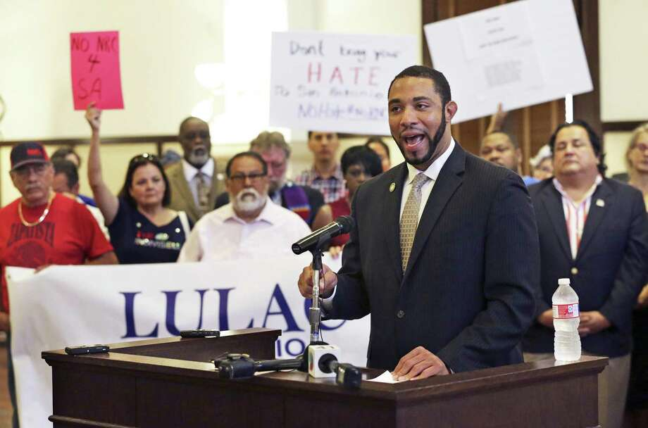 Bexar County Commissioner Tommy Calvert leads a group of speakers in the Bexar County Courthouse voicing their objection to the idea of San Antonio hosting the 2020 RNC convention in San Antonio on May 2, 2018. Photo: Tom Reel, Staff / San Antonio Express-News / 2017 SAN ANTONIO EXPRESS-NEWS