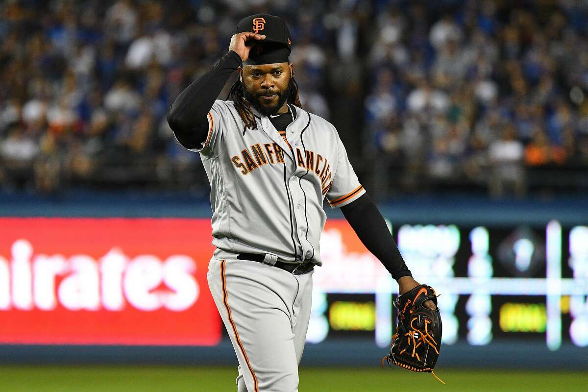 LOS ANGELES, CA - MARCH 30: San Francisco Giants Starting pitcher Johnny Cueto (47) looks on during a MLB game between the San Francisco Giants and the Los Angeles Dodgers on March 30, 2018 at Dodger Stadium in Los Angeles, CA. (Photo by Brian Rothmuller/Icon Sportswire via Getty Images)