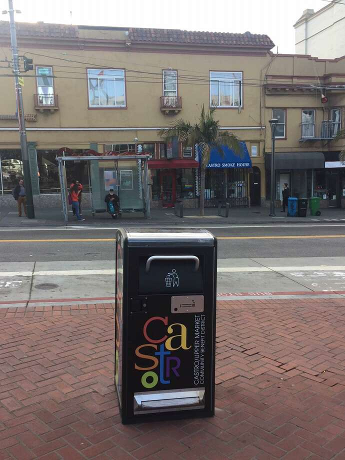 A Bigbelly trash bin near the Castro Theatre in San Francisco on Tuesday May 1, 2018. Photo: Sandra Zuniga, Director Of The San Francisco Fix-It Team / SFC