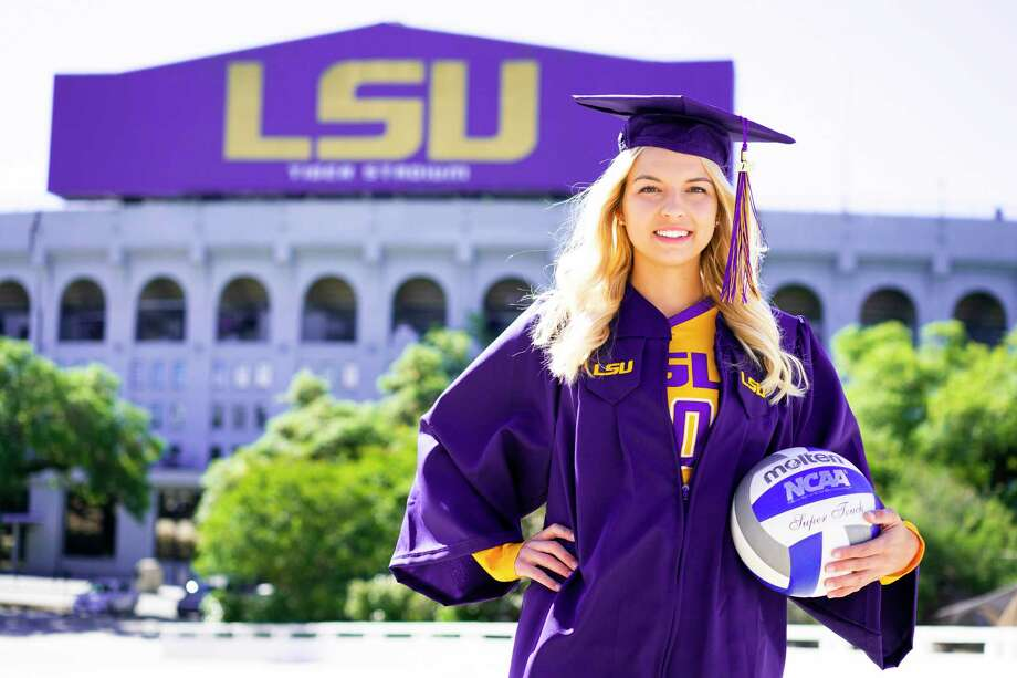 Former The Woodlands Lady Highlander volleyball player Kelly Quinn was recently awarded the H. Boyd McWhorter Award in April. Quinn played four years of volleyball at LSU. Photo: LSU Athletics