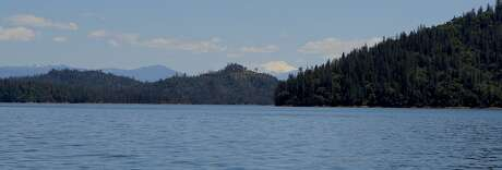 The view looking up the Pit River arm of Shasta Lake toward Lassen Peak Photo: Tom Stienstra / The Chronicle