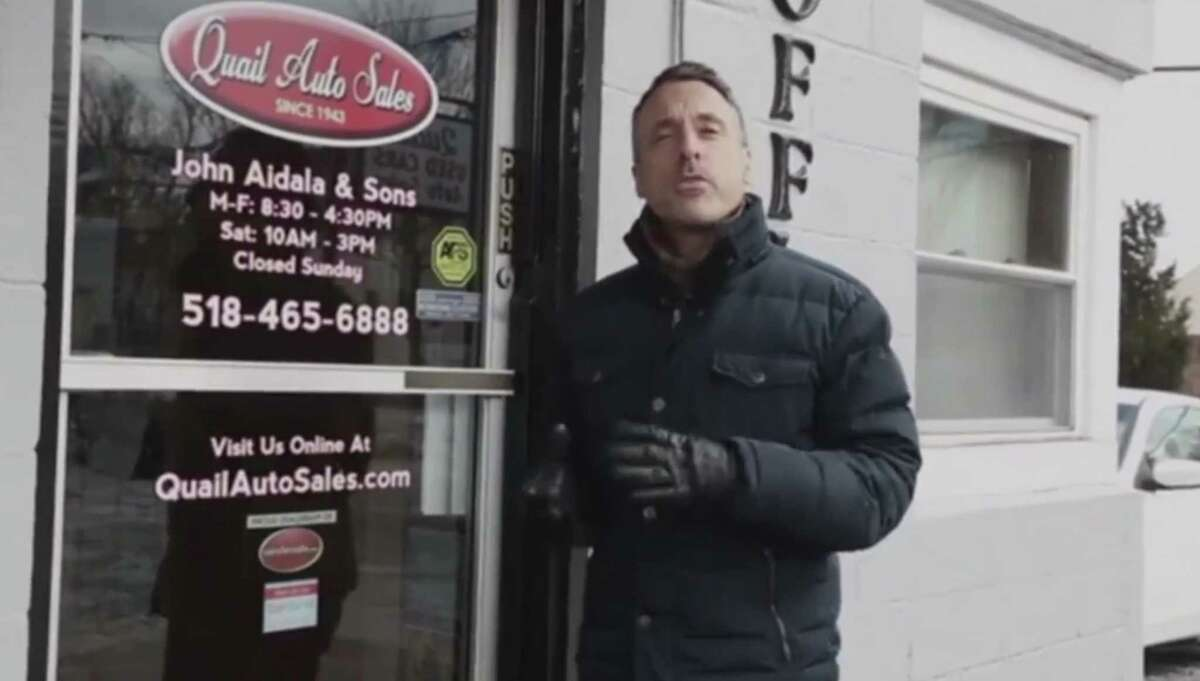 Greg Aidala in a video he made after a January killing outside his family's business on Quail Street. (Screen shot from Aidala video.)