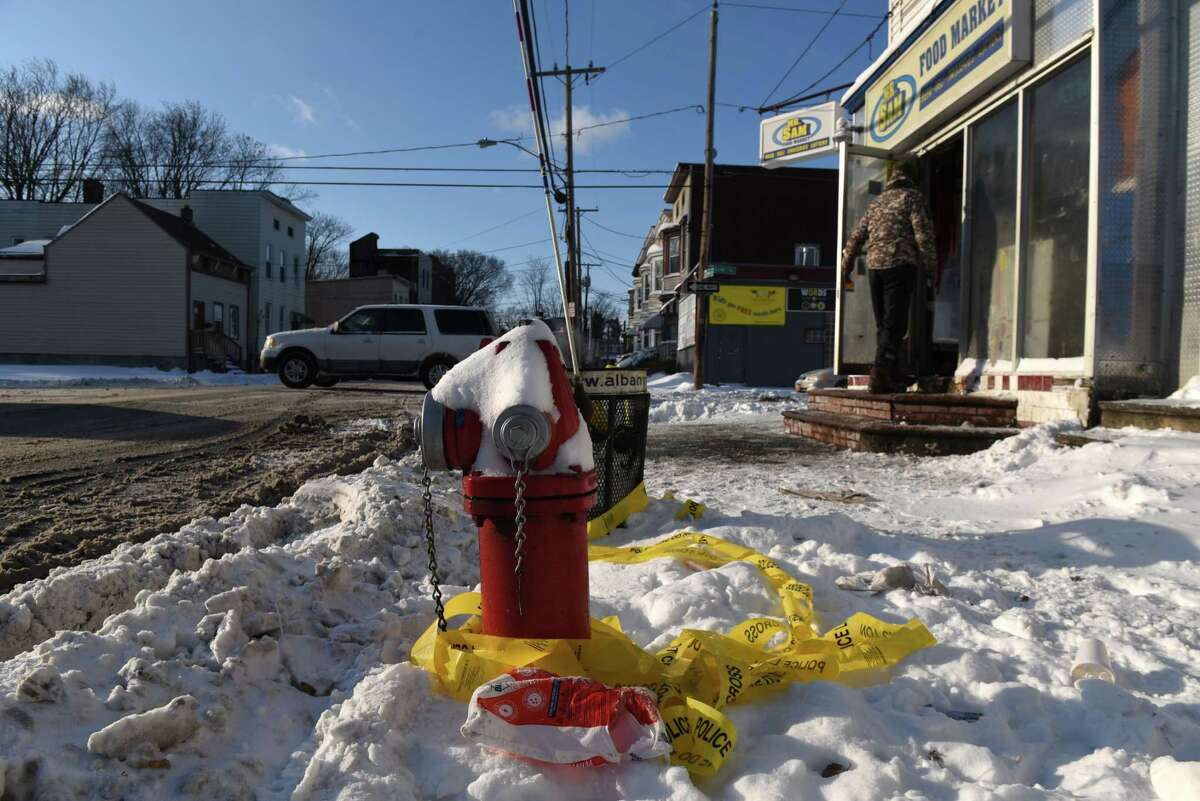 Albany recorded 15 killings in 2018 - well above the city's yearly average of 7.8 homicides. It was the bloodiest year since 2000. Read more. Crime scene tape is wrapped around a fire hydrant on Friday morning, Jan. 5, 2018, at the corner of First and Quail Streets where Anthony Malloy, 35, of Albany was gunned down on Thursday in Albany, N.Y. Malloy was crossing the street when someone opened fire at the intersection at 2 p.m. (Will Waldron/Times Union)