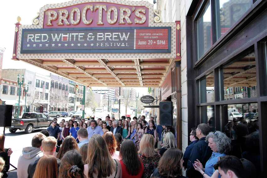 People gather for the High School Musical Theatre Award nominations outside Proctors on Wednesday, May 2, 2018, in Schenectady, N.Y. (Paul Buckowski/Times Union)
