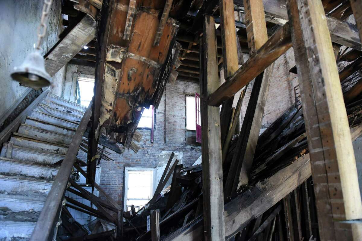 Interior of 19 Second St. on Wednesday, May 2, 2018, in Albany, N.Y. Albany city officials worked to stabilize the vacant building after receiving a 911 all about the front door being unsecure. When engineers arrived, the found the interior floors collapsed and the back wall bowing out. (Will Waldron/Times Union)