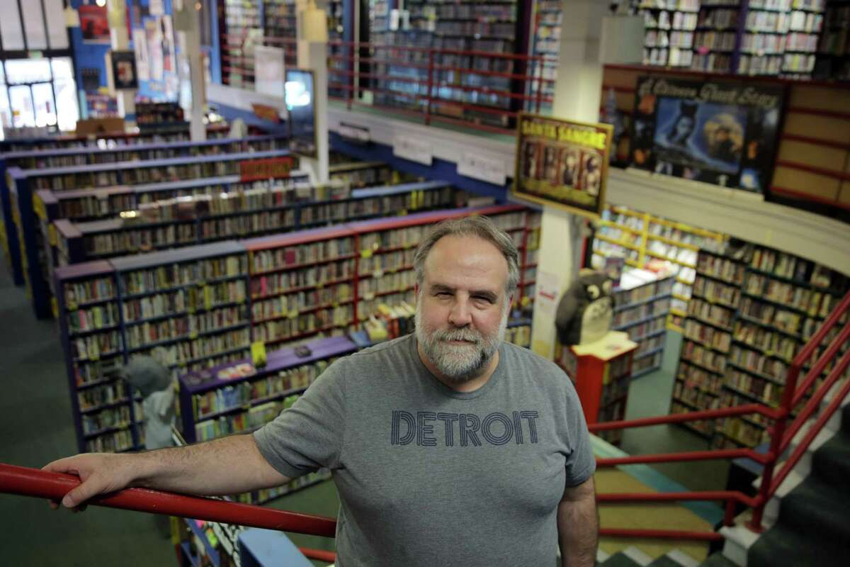 Mark Steiner, Scarecrow's video buyer, has worked at the store for 25 years.