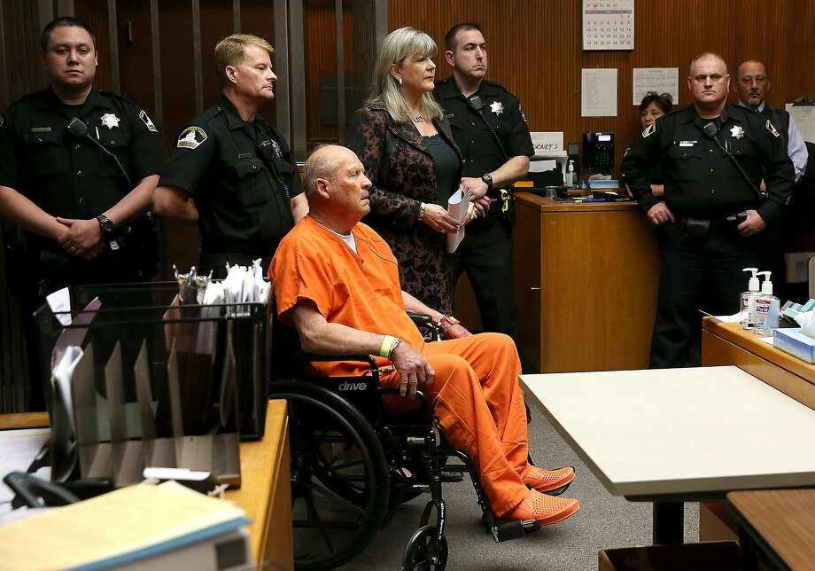 """Joseph James DeAngelo, the suspected """"Golden State Killer"""", appears in court for his arraignment on April 27, 2018 in Sacramento, California. DeAngelo, a 72-year-old former police officer, is believed to be the East Area Rapist who killed at least 12 people, raped over 45 women and burglarized hundreds of homes throughout California in the 1970s and 1980s. (Photo by Justin Sullivan/Getty Images) Photo: Justin Sullivan /"""