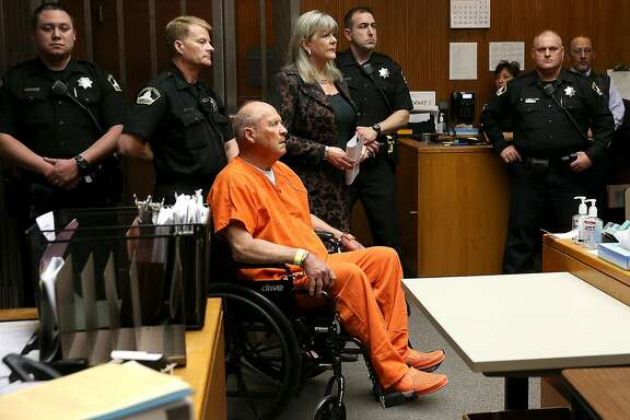 "*** BESTPIX *** SACRAMENTO, CA - APRIL 27:  Joseph James DeAngelo, the suspected ""Golden State Killer"", appears in court for his arraignment on April 27, 2018 in Sacramento, California. DeAngelo, a 72-year-old former police officer, is believed to be the East Area Rapist who killed at least 12 people, raped over 45 women and burglarized hundreds of homes throughout California in the 1970s and 1980s.  (Photo by Justin Sullivan/Getty Images)"