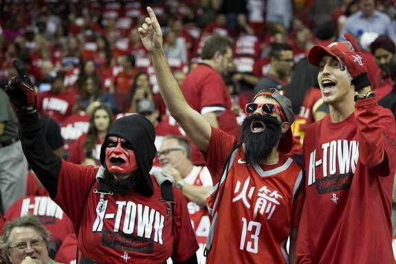Houston Rockets fans cheer before Game 2 of an NBA basketball second-round playoff series against the Utah Jazz at Toyota Center on Wednesday, May 2, 2018, in Houston. ( Brett Coomer / Houston Chronicle )