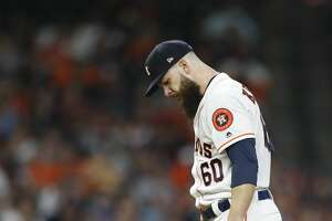 Houston Astros starting pitcher Dallas Keuchel (60) reacts after New York Yankees Giancarlo Stanton hit his second home run of the night during the fourth inning of an MLB game at Minute Maid Park, Wednesday, May 2, 2018, in Houston. ( Karen Warren  / Houston Chronicle )