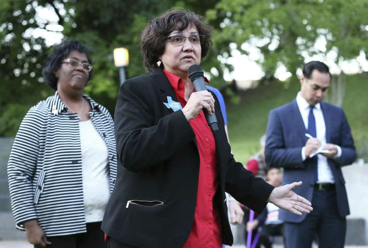 Lupe Valdez speaks as Democratic statewide hopefuls gather at the Sheraton Austin at the Capitol to speak at the Blue Wave Summit Fundraising reception on April 14, 2018.