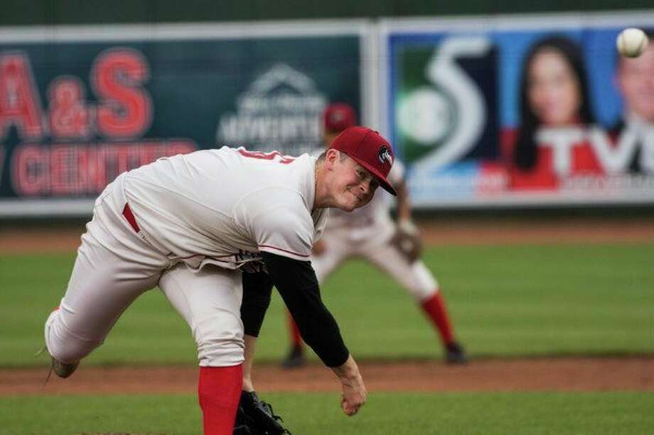 Great Lakes Loons pitcher Wills Montgomerie pitches the ball during the Loons game against the Quad City River Bandits on May 2, 2018 at Dow Diamond. (Mary Lewandowski/ for the Daily News)