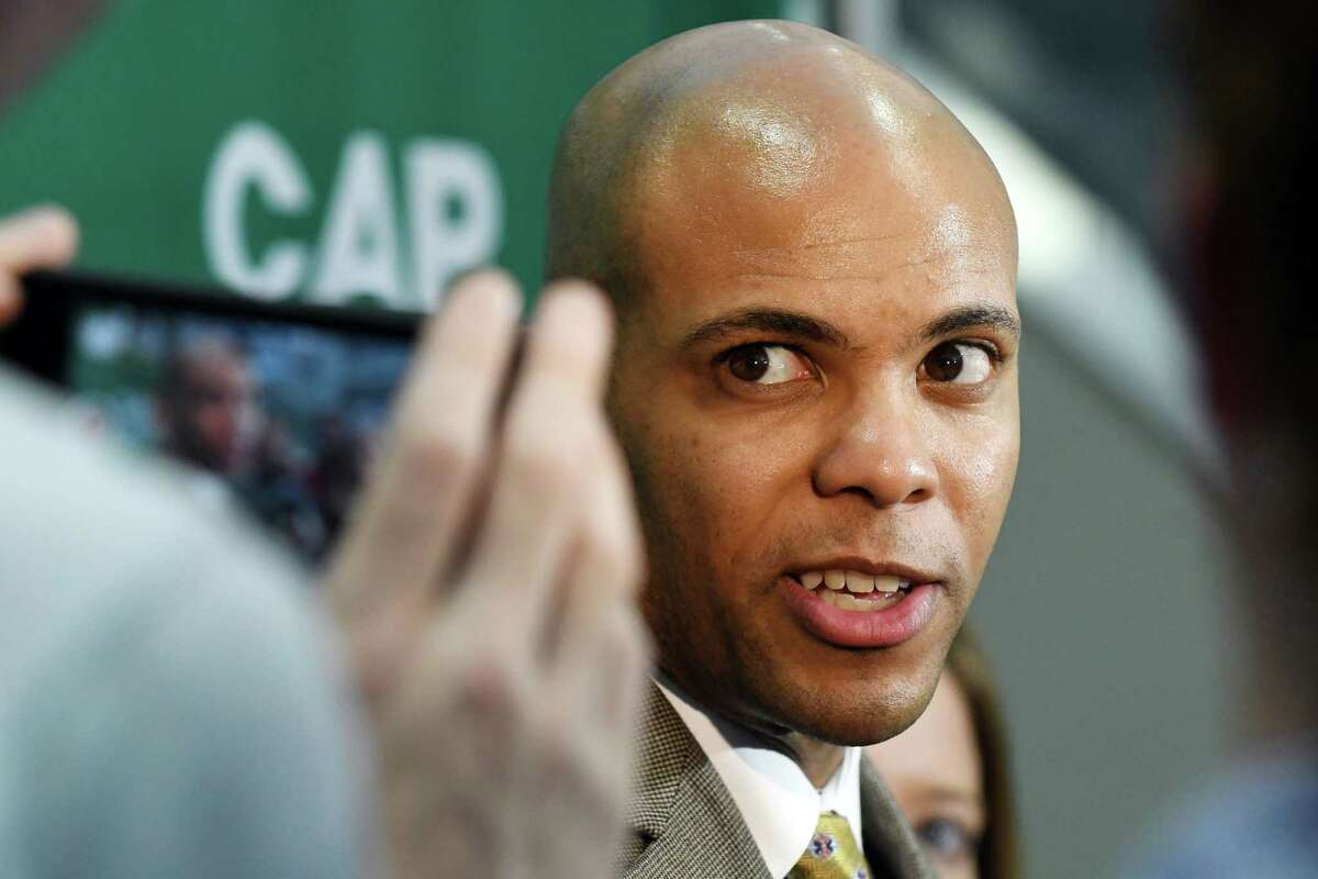 Siena menOs basketball new head coach Jamion Christian speaks to the media following his introduction during a press conference at the Times Union Center on Wednesday, May 2, 2018, in Albany, N.Y. (Will Waldron/Times Union)