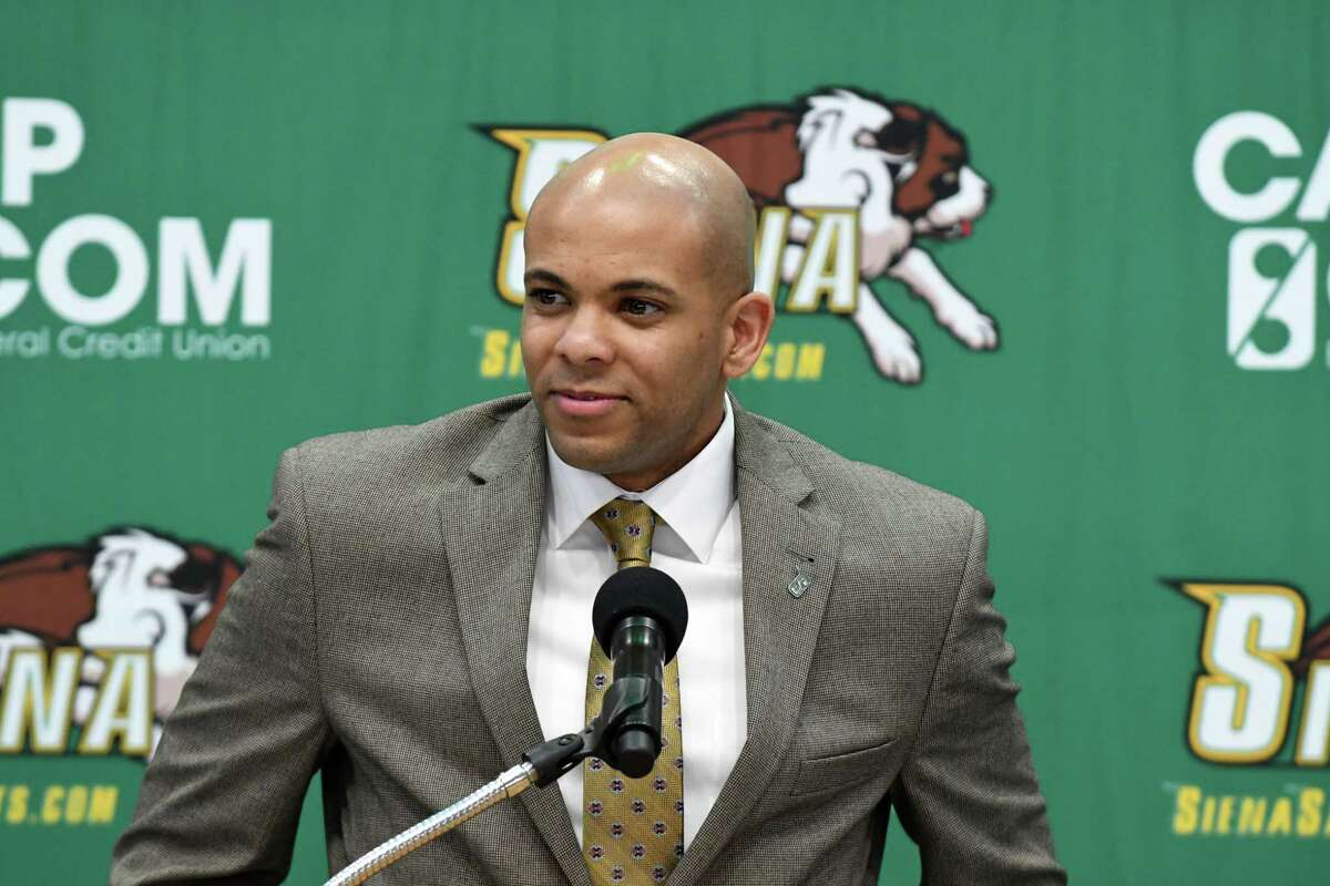 Siena menOs basketball new head coach Jamion Christian is introduction during a press conference at the Times Union Center on Wednesday, May 2, 2018, in Albany, N.Y. (Will Waldron/Times Union)