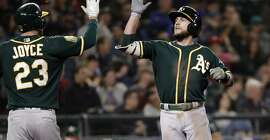 Oakland Athletics' Jed Lowrie, right, is congratulated by Matt Joyce (23) on his two-run home run against the Seattle Mariners during the eighth inning of a baseball game Wednesday, May 2, 2018, in Seattle. (AP Photo/Elaine Thompson)