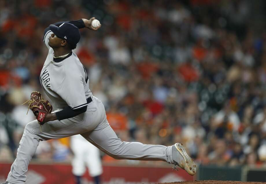 New York Yankees starting pitcher Luis Severino (40) pitches during the ninth inning of an MLB game at Minute Maid Park, Wednesday, May 2, 2018, in Houston. ( Karen Warren  / Houston Chronicle ) Photo: Karen Warren/Houston Chronicle