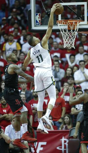 11a2eacabd51 3of90Utah Jazz guard Dante Exum (11) scores on a dunk after driving past  Houston Rockets forward PJ Tucker (4) during the second half in Game 2 of  an NBA ...