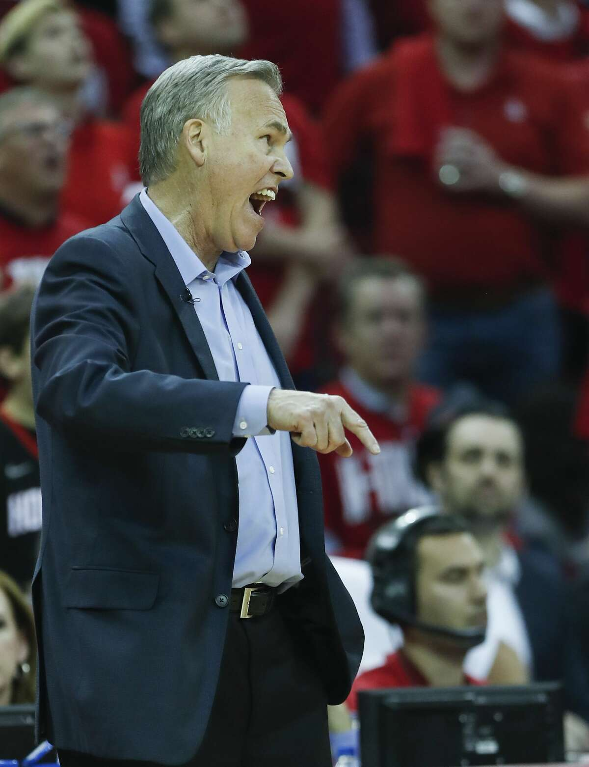 Houston Rockets head coach Mike D'Antoni argues a call during the second half in Game 2 of an NBA basketball second-round playoff series at Toyota Center on Wednesday, May 2, 2018, in Houston. ( Brett Coomer / Houston Chronicle )