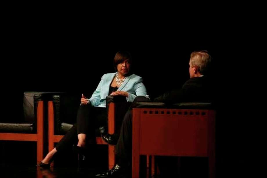 Karen S. Carter, the chief inclusion officer at Dow, left, and Matt Davis, president of Dow North America, discuss the state of inclusion and diversity at Dow on Jan. 24 during the MLK Regional Celebration at Saginaw Valley State University. (File Photo/Samantha Madar)
