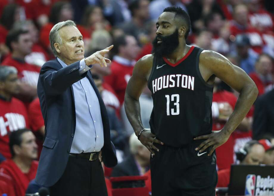 Houston Rockets head coach Mike D'Antoni works with Houston Rockets guard James Harden (13) during the second half in Game 2 of an NBA basketball second-round playoff series against the Utah Jazz at Toyota Center on Wednesday, May 2, 2018, in Houston. ( Brett Coomer / Houston Chronicle ) Photo: Brett Coomer/Houston Chronicle