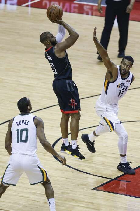 Houston Rockets guard Chris Paul (3) shoots over Utah Jazz guard Ricky Rubio (3) during the first half of Game 2 of the NBA second-round playoff series at the Toyota Center Wednesday, May 2, 2018 in Houston. (Michael Ciaglo / Houston Chronicle) Photo: Michael Ciaglo/Houston Chronicle