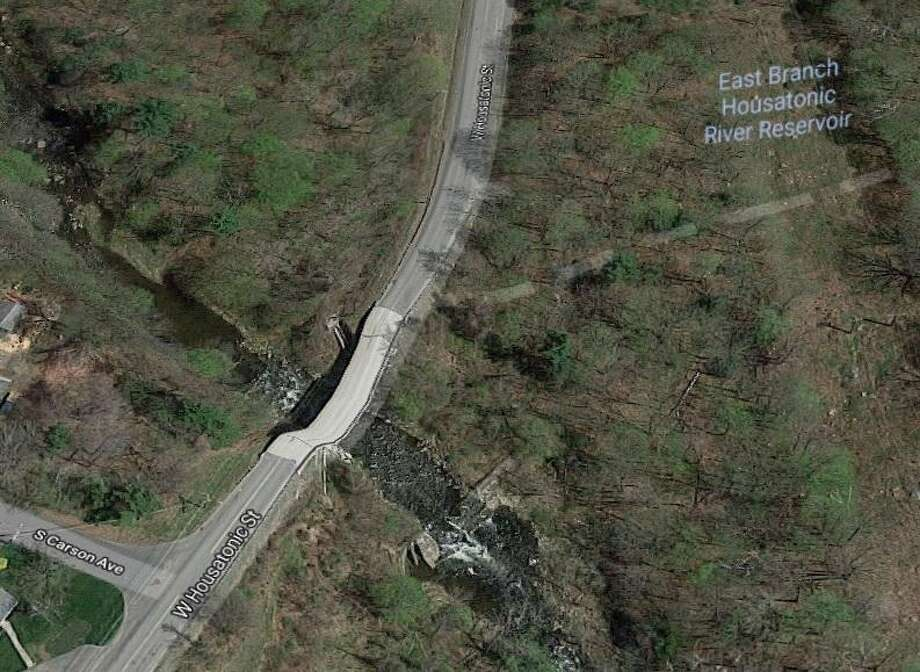 """This is the area where a 14-inch sewage line at a bridge crossing on West Housatonic Street partially failed on Wednesday, May 2, 2018, said Chris Collibee, spokesman for the state Department of Energy and Environmental Protection. """"Some of the volume is impacting the river, however, some is continuing to flow in the system. The volume of impact and the release rate are unknown, but the line does convey 2.5 million gallons per day."""" Photo: Google Maps Image"""