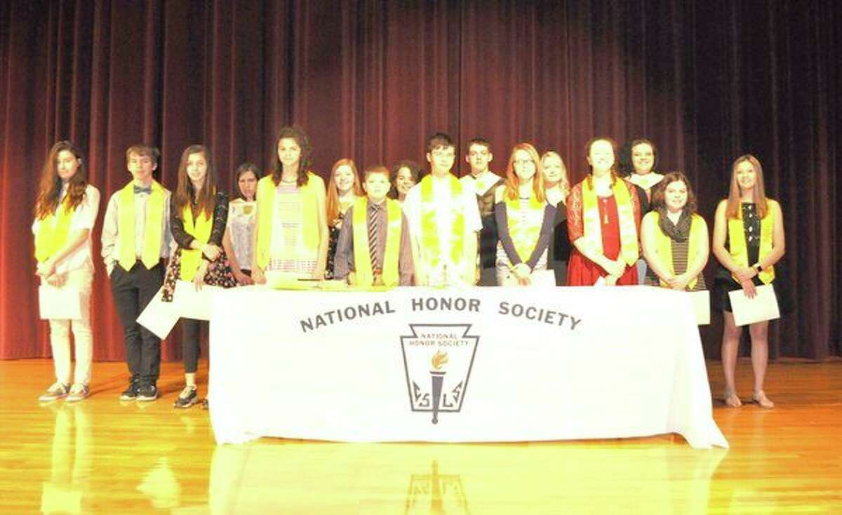 Sixteen students were recently inducted into Caseville's National Honor Society and National Junior Honor Society during a ceremony at the school. This brings the total number of members in the society to 43 students in grades seventh through 12th. Membership is determined by qualities of scholarship, leadership, service and character. The organizations are advised by teachers Candie Feltner and Kathleen Tighe. (Submitted Photo)