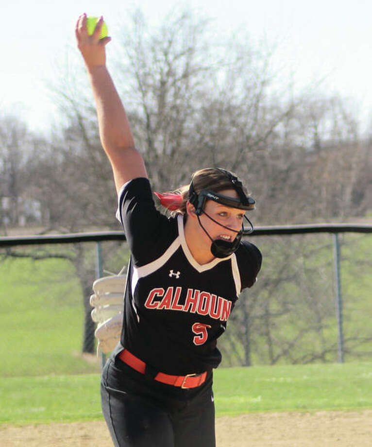 Calhoun's Sydney Baalman, shown in action earlier this season in Hardin, struck out 14 and walked no one while throwing a one-hitter to shut out Roxana 4-0 Wednesday at Roxana Park. Photo:       Greg Shashack / For The Telegraph