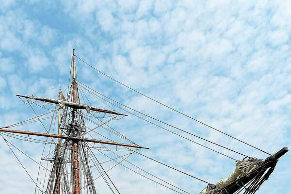 (Peter Casolino-New Haven Register) The Amistad, is docked in New Haven Harbor during the homecoming ceremony. The boat will be in Long Island Sound for most of the summer, with many events and public trips planned. July 2, 2014.pcasolino@newhavenregister.com