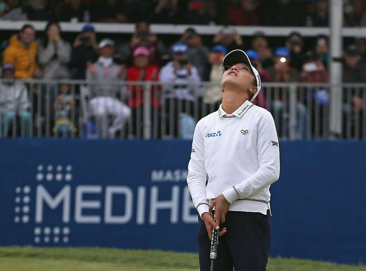 DALY CITY, CA - APRIL 29: Lydia Ko of New Zealand reacts after making an eagle to win the Mediheal Championship at Lake Merced Golf Club on April 29, 2018 in Daly City, California. (Photo by Matt Sullivan/Getty Images)