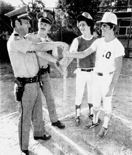 A photo of Joseph James DeAngelo (second from left) from the 1979 Auburn Journal. DeAngelo, who was arrested on suspicion of being the Golden State Killer, was an Auburn police officer from 1976-79. Photo: Auburn Journal