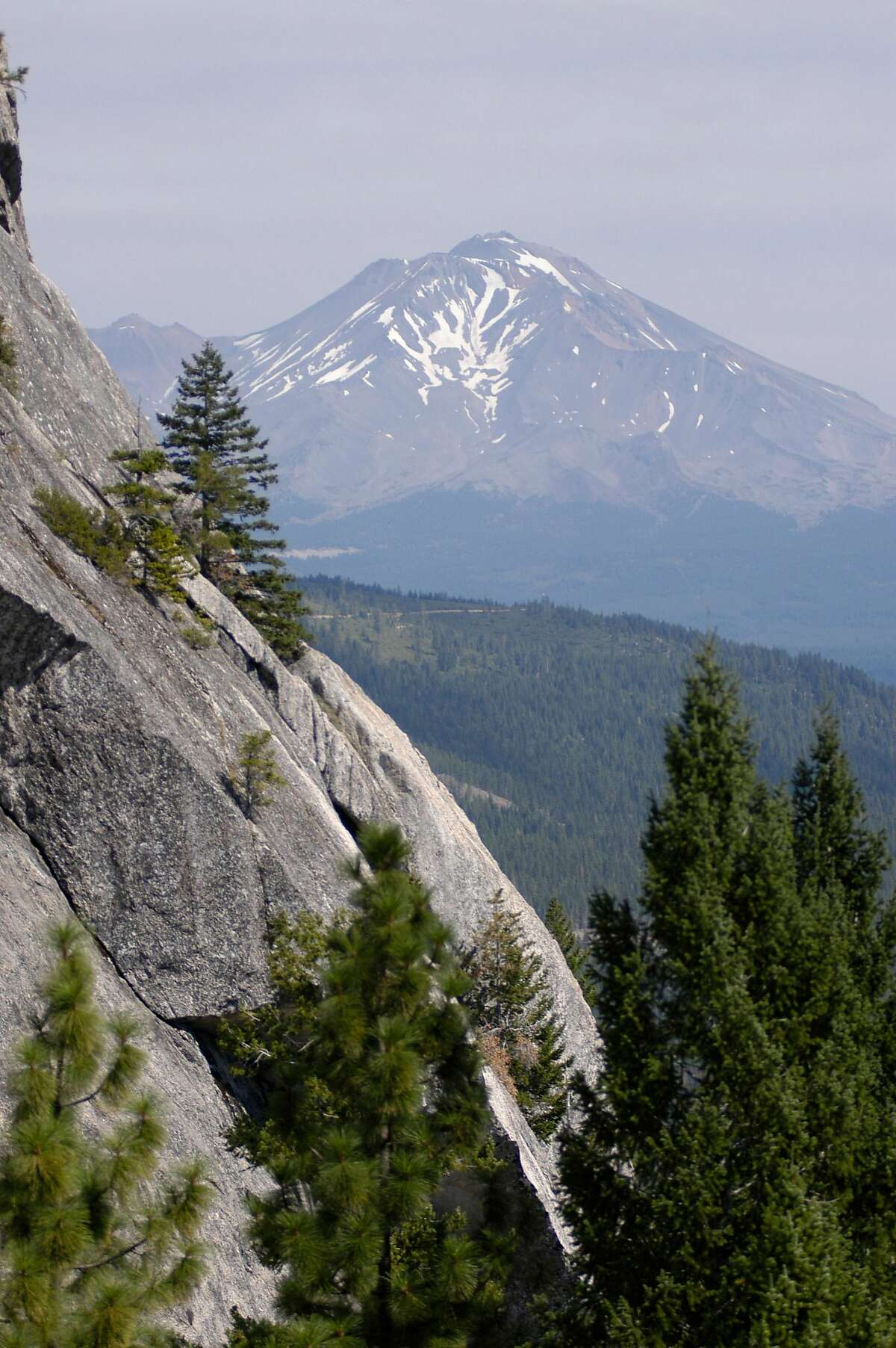 Mount Shasta in the distance, as seen from the Crags Trail in Castle Crags State Park near Dunsmuir. Dunsmuir on 9/8/05. Spud Hilton / The Chronicle Ran on: 06-18-2006 Mount Shasta, as seen from Castle Crags State Park, has a deep snowpack this year, to the advantage of climbers. Ran on: 06-18-2006 Ran on: 06-18-2006 Ran on: 06-18-2006 Ran on: 01-17-2007 Mount Shasta could be the site of a major Nestle plant, barring a change of heart by the courts.