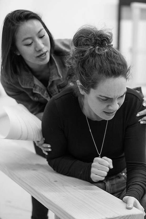 "From left: Grace Ng as Ester and Martha Brigham as Amy in rehearsal for ""Dry Land"" at Shotgun Players. Photo: Cheshire Isaacs / Shotgun Players"