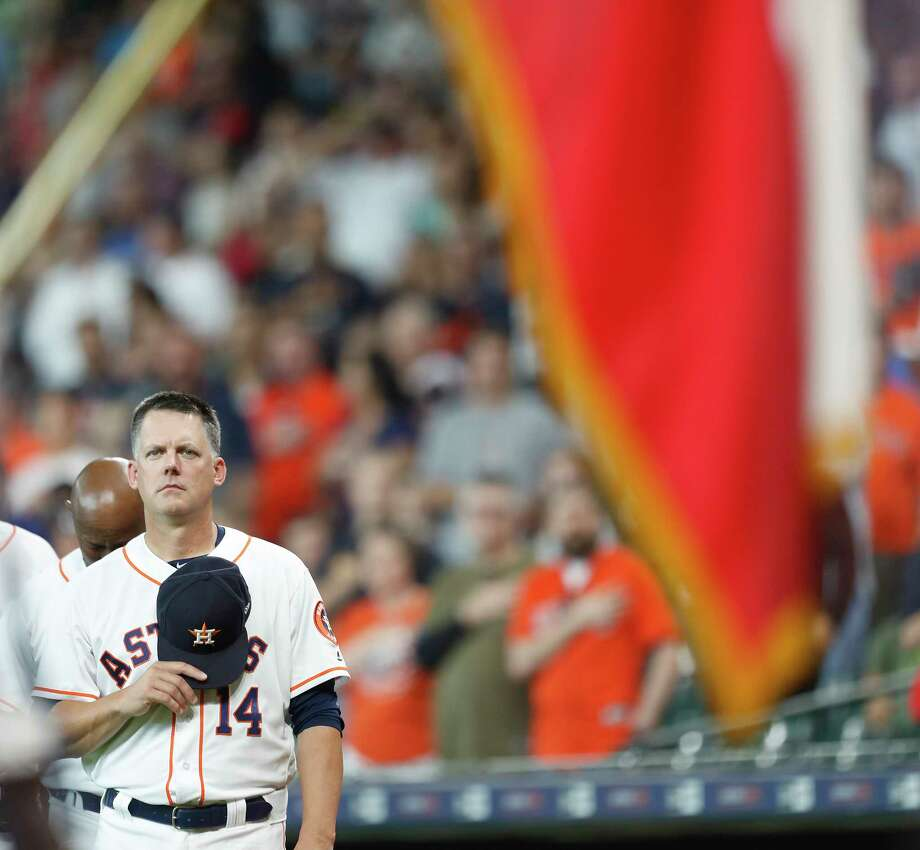 Houston Astros manager AJ Hinch (14) during the National Anthem before the start of the first inning of an MLB game at Minute Maid Park, Thursday, May 3, 2018, in Houston. Photo: Karen Warren, Houston Chronicle / © 2018 Houston Chronicle