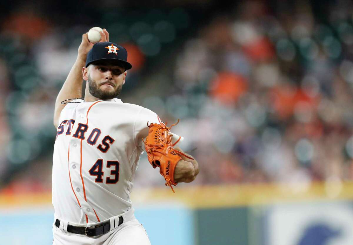 Houston Astros starting pitcher Lance McCullers Jr. (43) pitches during the first inning of an MLB game at Minute Maid Park, Thursday, May 3, 2018, in Houston.