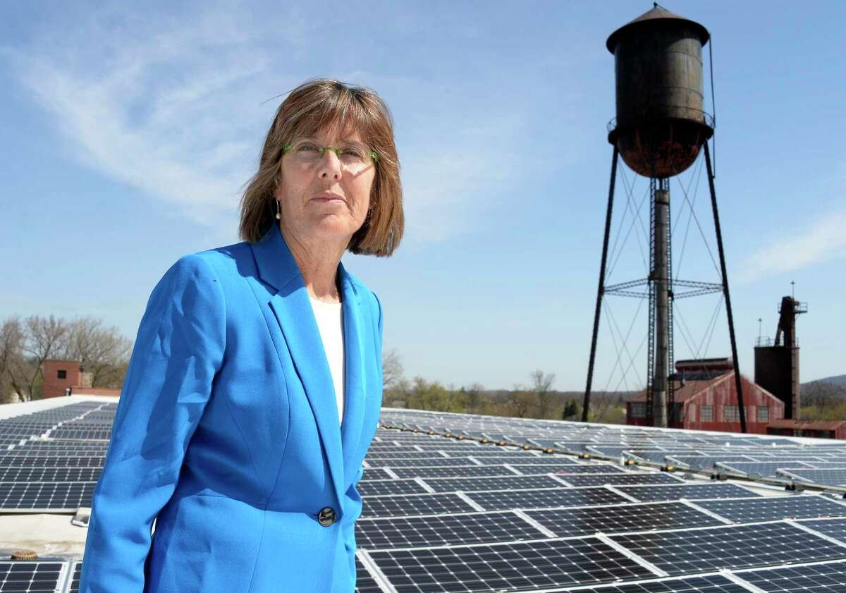 State Parks Commissioner Rose Harvey stands amid the 450-panel solar array atop the Peebles Island State Park office facility to make a State Parks Clean Energy announcement Wednesday May 2, 2018 in Cohoes, NY. (John Carl D'Annibale/Times Union)