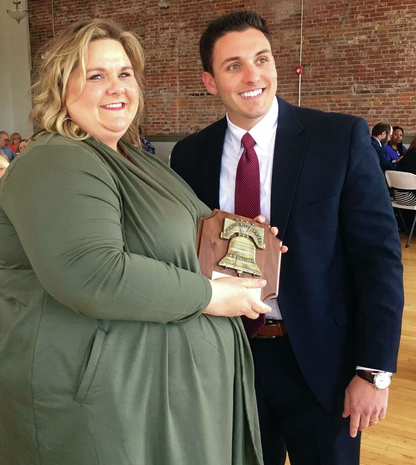Terianne Edwards, with Adam Bragee, Recording Secretary for the Madison County Bar Association. Taken at the MCBA's Annual Law Day Luncheon Tuesday at the Wildey Theatre.