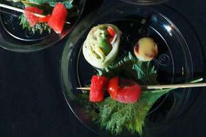 Godai Sushi Bar and Japanese Restaurant Tuna , tomato and watermelon skewer at the Express-News Top 100 Dining and Drinks Tasting Event on March 21, 2017 at the Aztec Theatre.
