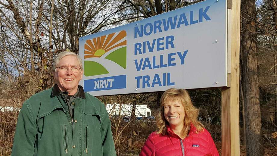 Charlie Taney, the new executive director of the Norwalk River Valley Trail, with Pat Sesto of Ridgefield, president of the Friends of the NRVT. Photo: Contributed Photo