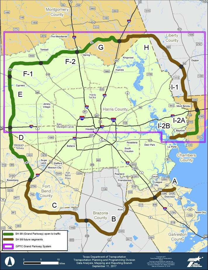 The Texas Department of Transportation awarded a $585 million contract for the construction of segments H, I-1 and I-2 of the SH 99 toll road. Segments start from New Caney to Baytown.  PHOTOS: See how big the Grand Parkway is compared to other cities ... Photo: Grand Parkway Infrastructure