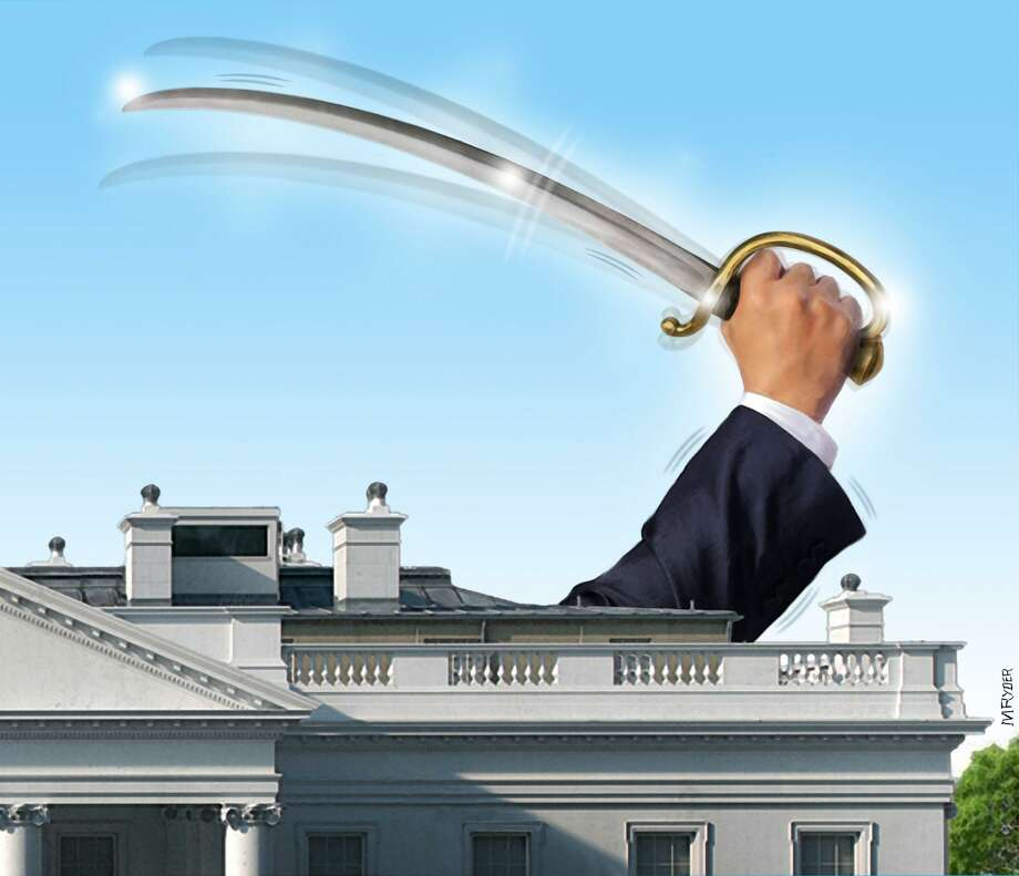 This artwork by M. Ryder refers to Donald Trump's efforts to rattle the sabers in regards to foreign policy. Photo: M. Ryder