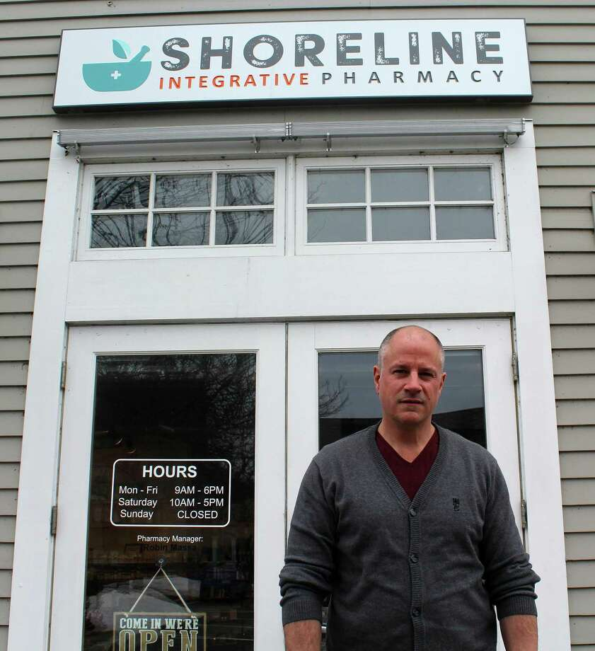 Phil Hein stands in front of his shop, Shoreline Integrative Pharmacy in Westport, on Jan. 16, 2018. Photo: Sophie Vaughan/Hearst Connecticut Media