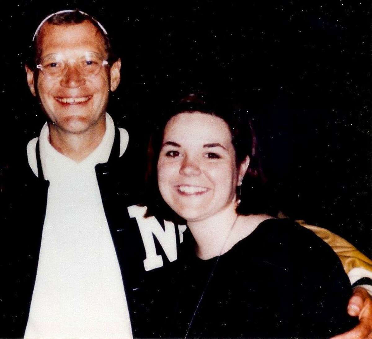 Westport resident Caissie St. Onge with David Letterman circa 1995.