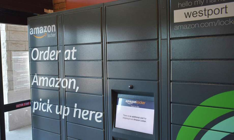 An Amazon Locker in March 2018 at the entrance to the company's Westport, Conn. store. Photo: Alexander Soule / Hearst Connecticut Media / Stamford Advocate