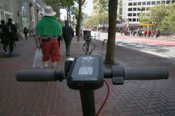 Scooter seen ready for use on Market St. by Westfield Mall on Monday, April 30, 2018, in San Francisco, Calif.