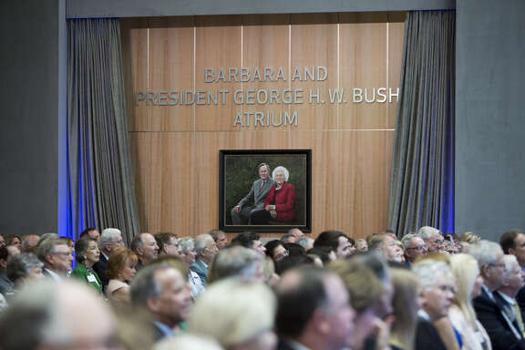 Portrait of Barbara and President George H.W. Bush is unveiled at the May 2, 2018 naming ceremony for the Barbara and President George H.W. Bush Atrium at the new Walter Tower at Houston Methodist Hospital