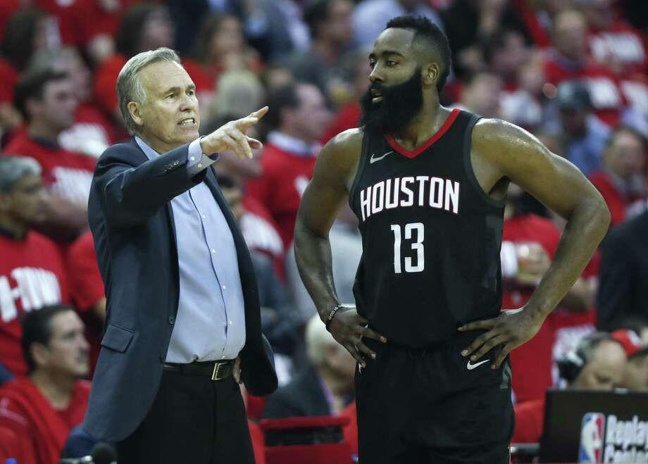 Houston Rockets head coach Mike D'Antoni works with Houston Rockets guard James Harden (13) during the second half in Game 2 of an NBA basketball second-round playoff series against the Utah Jazz at Toyota Center on Wednesday, May 2, 2018, in Houston. ( Brett Coomer / Houston Chronicle ) Photo: Brett Coomer, Staff / Houston Chronicle / © 2018 Houston Chronicle