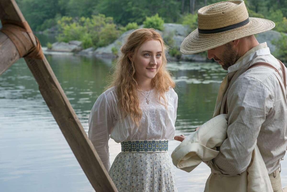 "Ingenue Nina (Saoirse Ronan) and writer Boris Trigorin in Anton Chekhov's ""The Seagull."" Photo by Nicole Rivelli, courtesy of Sony Pictures Classics."