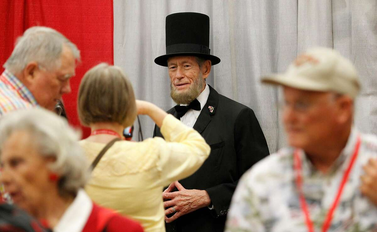 Abe Lincoln, portayed by Courtland Savage, is a promotional guest of the Ted Cruz booth during the second day of the Republican Party of Texas state convention on May 13, 2016 in Dallas. (Paul Moseley/Fort Worth Star-Telegram/TNS)